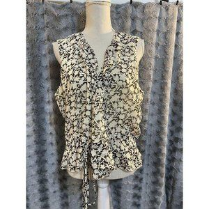 Ann Taylor Floral Ruffle Front Tie Tank Top